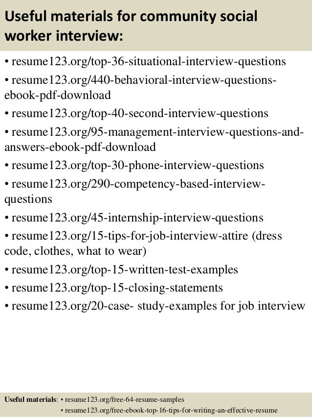 12 useful materials for community social worker - Social Worker Sample Resume