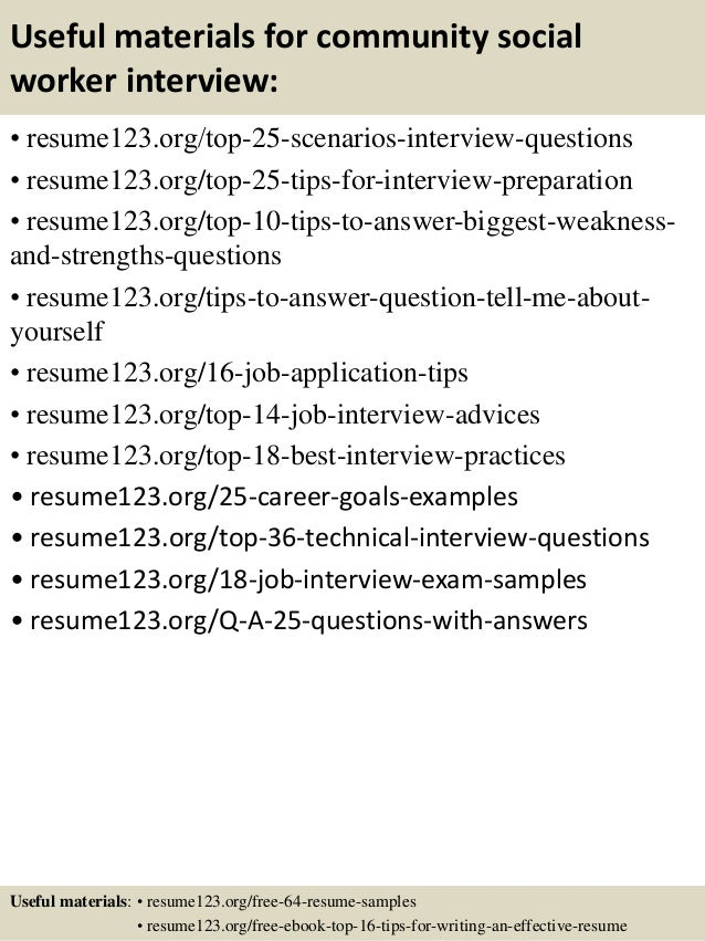 13 useful materials for community social worker - Social Worker Sample Resume