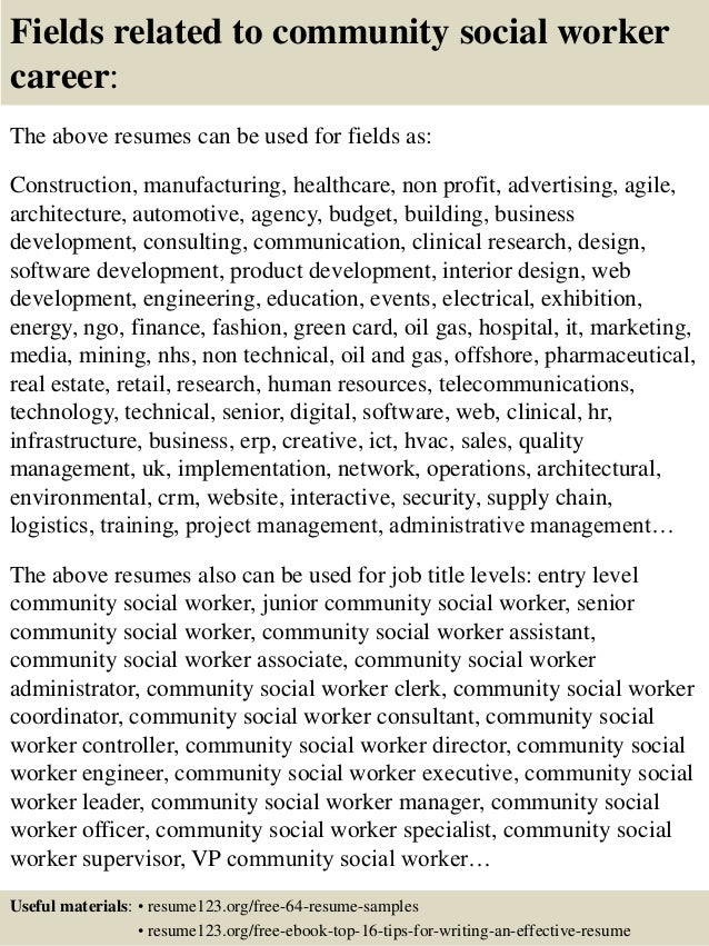 Top  Community Social Worker Resume Samples