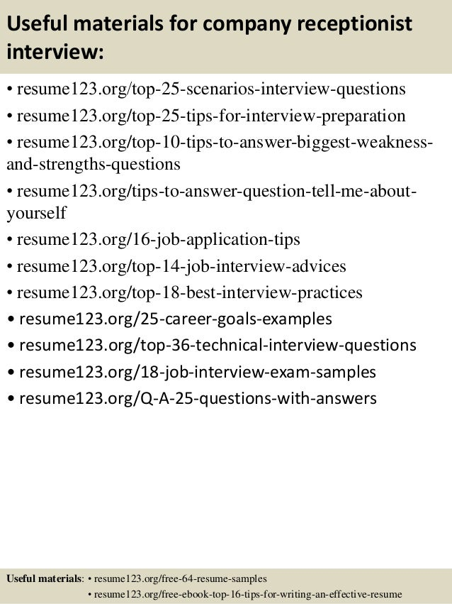 Top 8 company receptionist resume samples – Receptionist Resume Sample