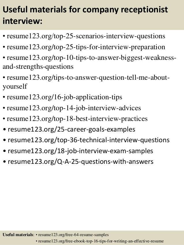 Top 8 company receptionist resume samples – Receptionist Resume Sample