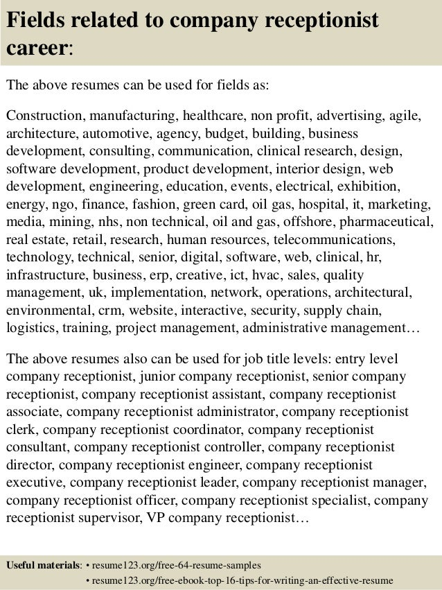 16 fields related to company receptionist