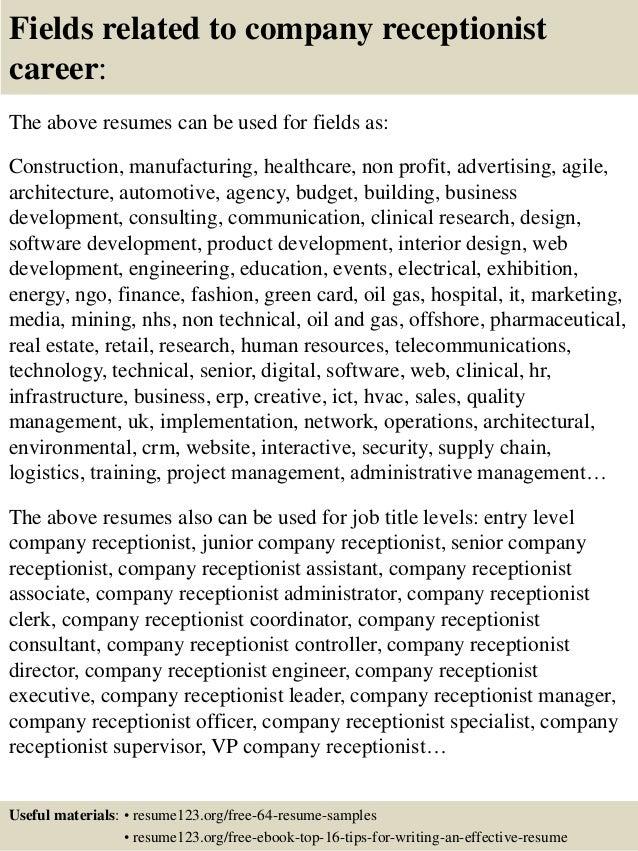 Receptionist Resume Example Secretary Resume Example Resume Free Resume  Sample Free Resume Templates Sample Resume Templates  Resume Samples For Receptionist