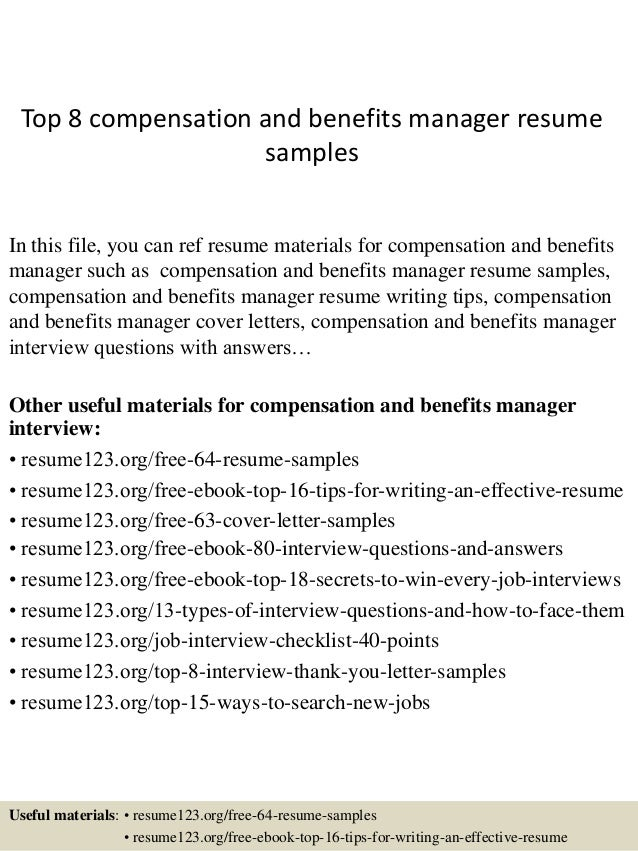 Sample Benefits Manager Resume