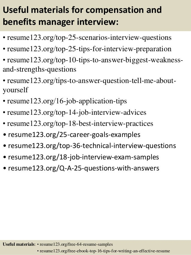 ... 13. Useful Materials For Compensation And Benefits Manager ...  Benefits Manager Resume