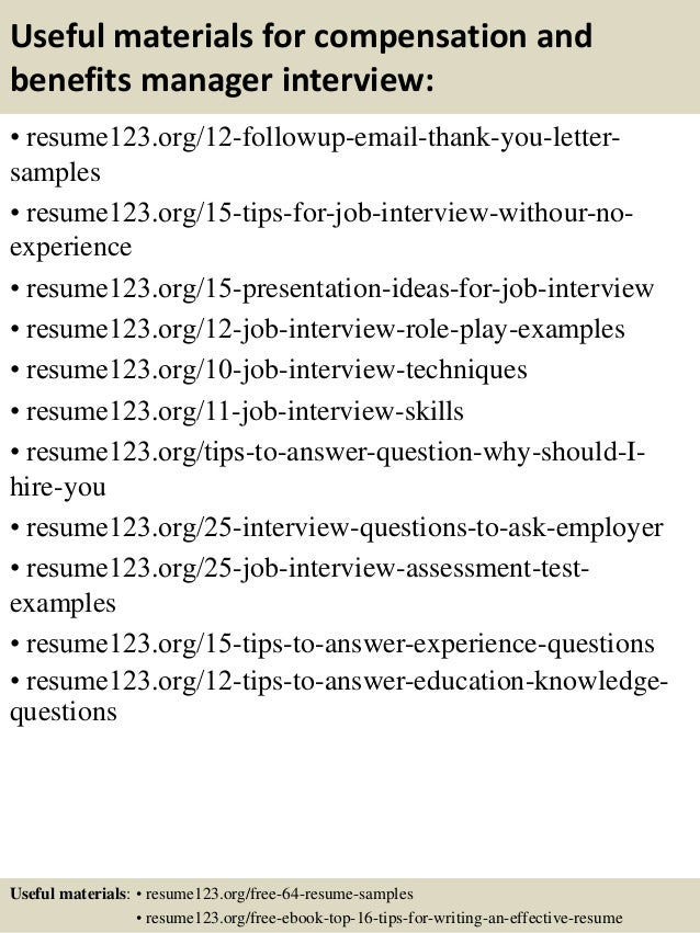 ... 14. Useful Materials For Compensation And Benefits Manager ...  Benefits Manager Resume