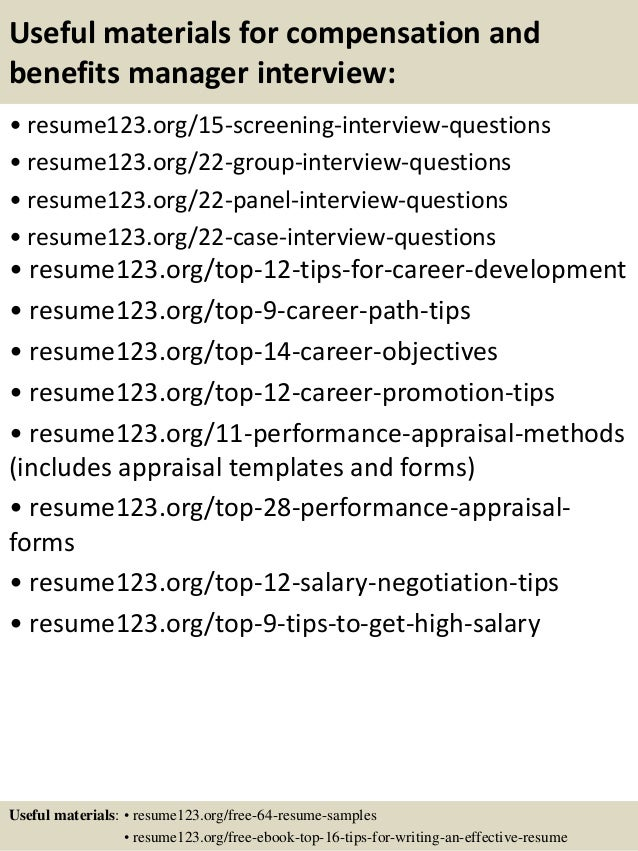 Captivating ... 15. Useful Materials For Compensation And Benefits Manager ...  Benefits Manager Resume