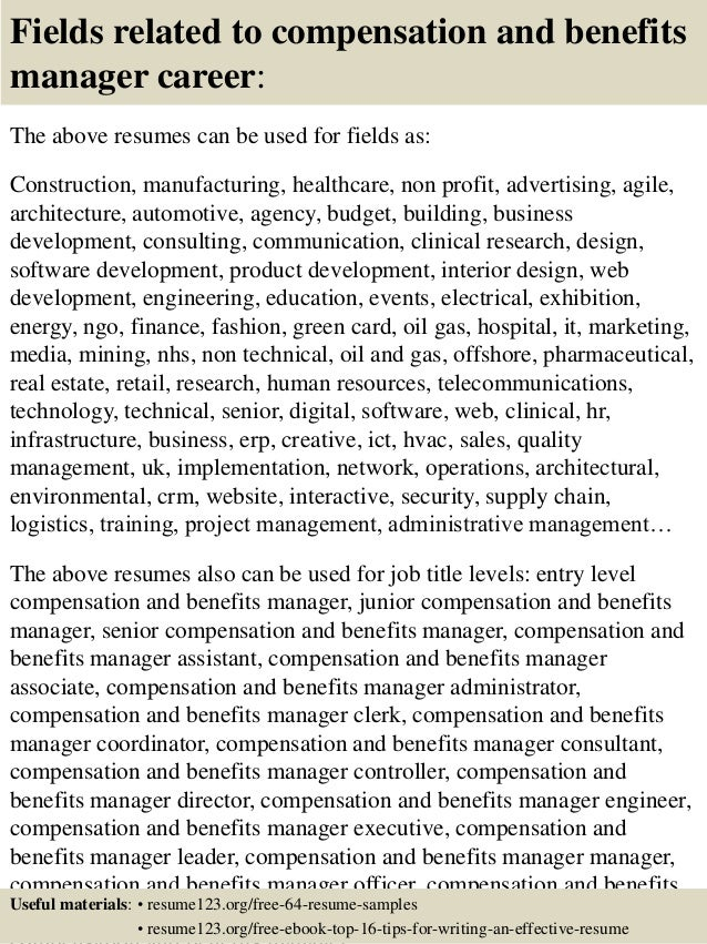 Top 8 compensation and benefits manager resume samples