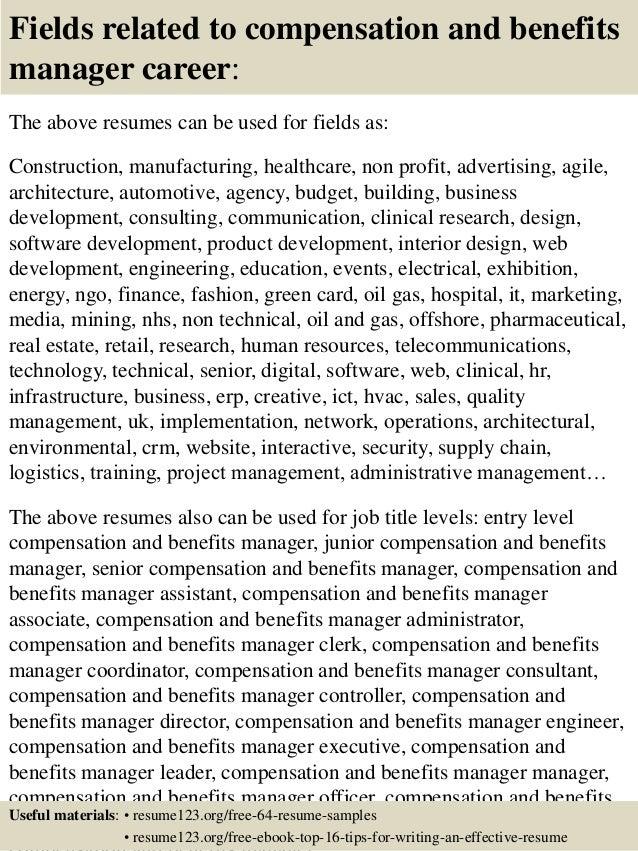 compensation manager resume