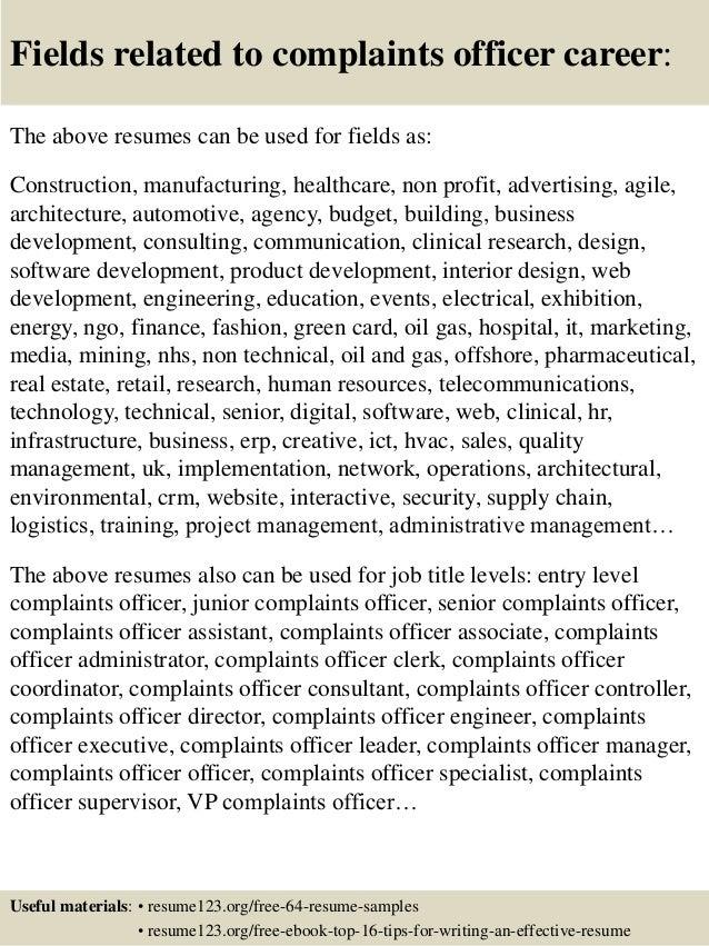 Top 8 complaints officer resume samples