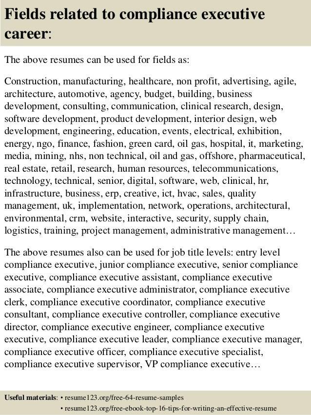Top 8 compliance executive resume samples