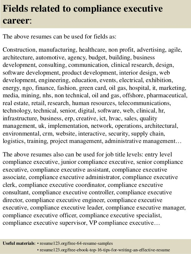 ... 16. Fields Related To Compliance ...  Compliance Resume