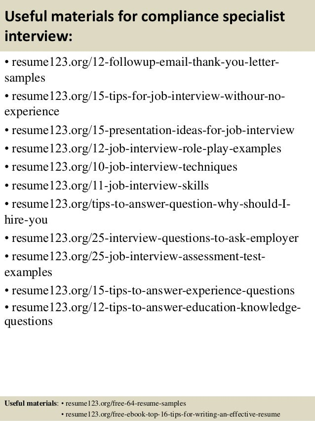 top 8 compliance specialist resume sles