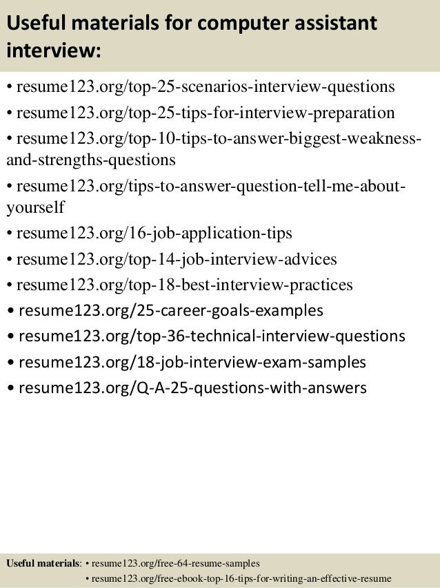 ... 13. Useful Materials For Computer Assistant ...