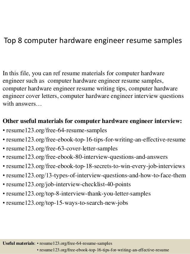 Top 8 Computer Hardware Engineer Resume Samples In This File, You Can Ref  Resume Materials ...  Computer Engineer Resume
