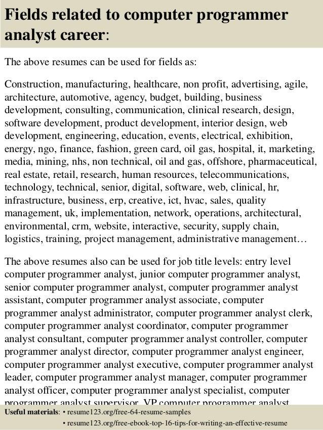 top 8 computer programmer analyst resume samples