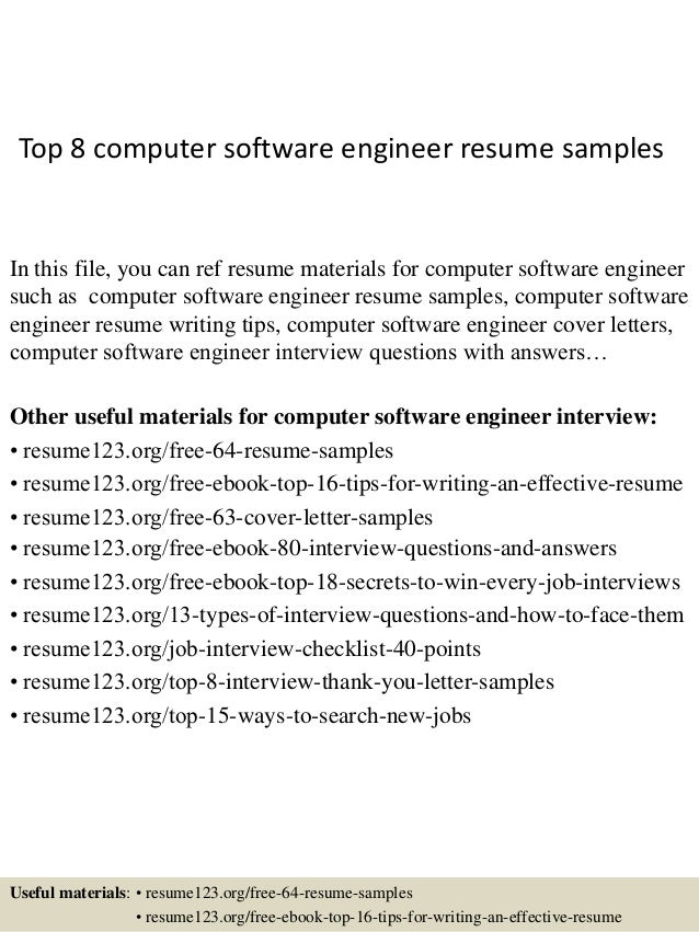 top 8 computer software engineer resume samples in this file you can ref resume materials - Senior Software Engineer Sample Resume