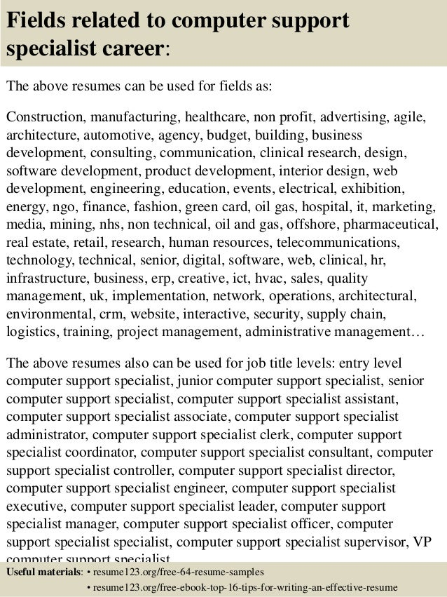 Computer Support Specialist Resumes  Product Specialist Resume