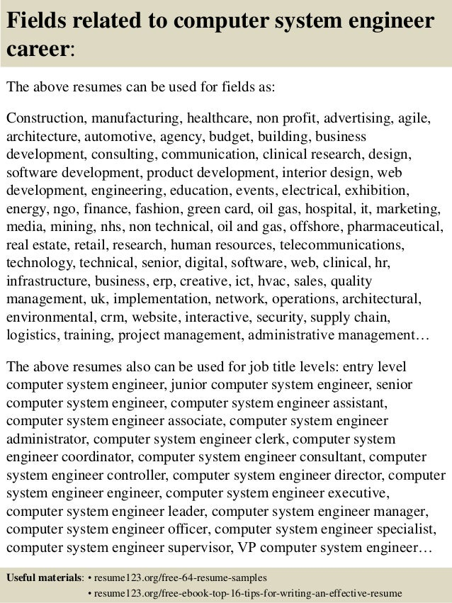16 fields related to computer system engineer - Computer Systems Engineer Sample Resume