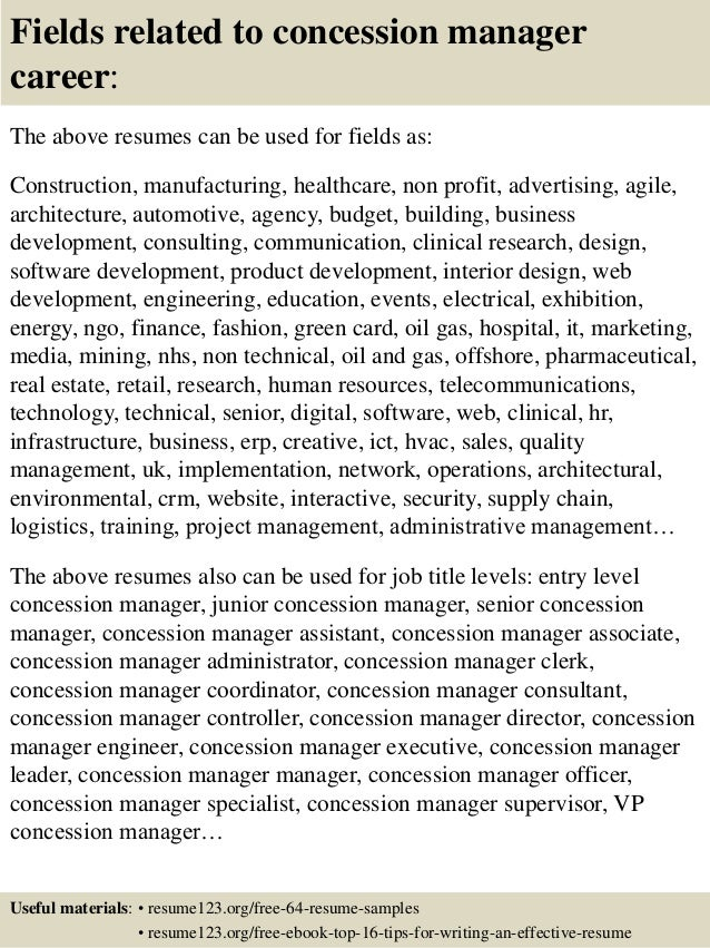 Concessions Manager Sample Resume