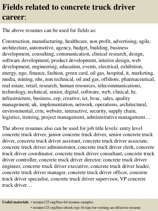 16 fields related to concrete truck driver