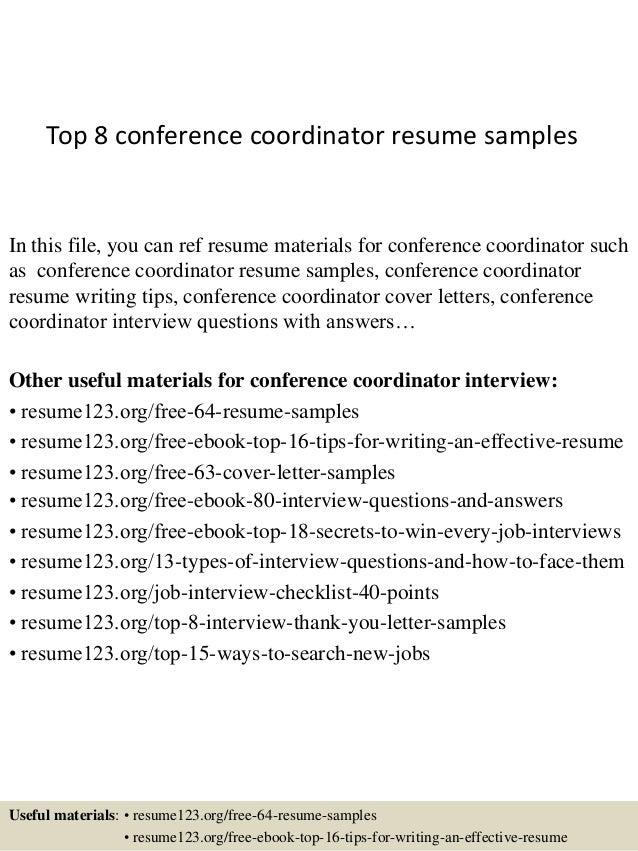 top 8 conference coordinator resume samples 1 638 jpg cb 1428671627