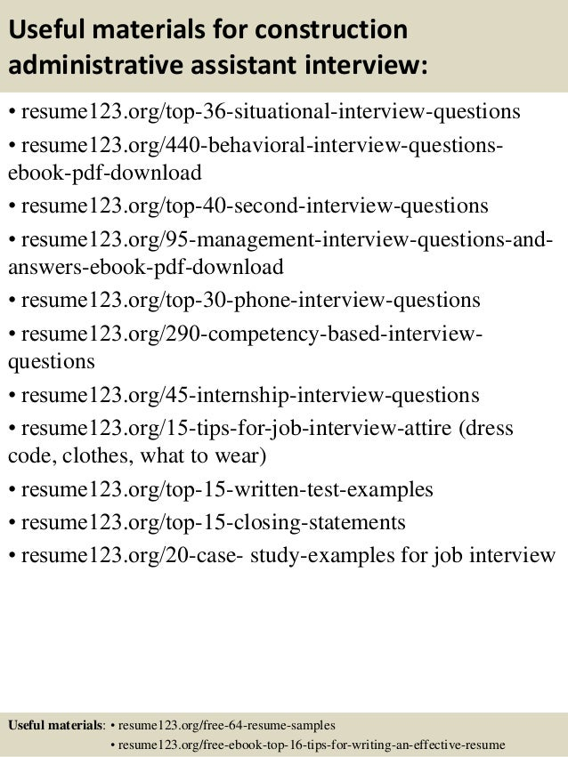 top 8 construction administrative assistant resume samples