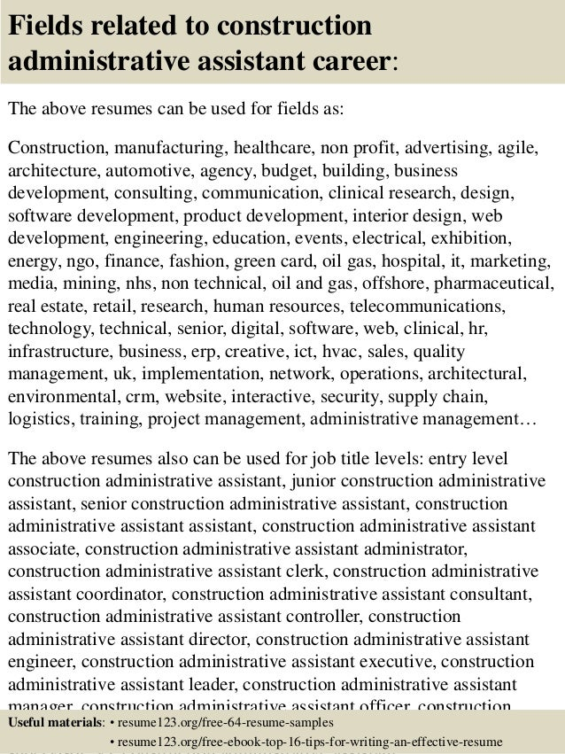 16 fields related to construction administrative assistant