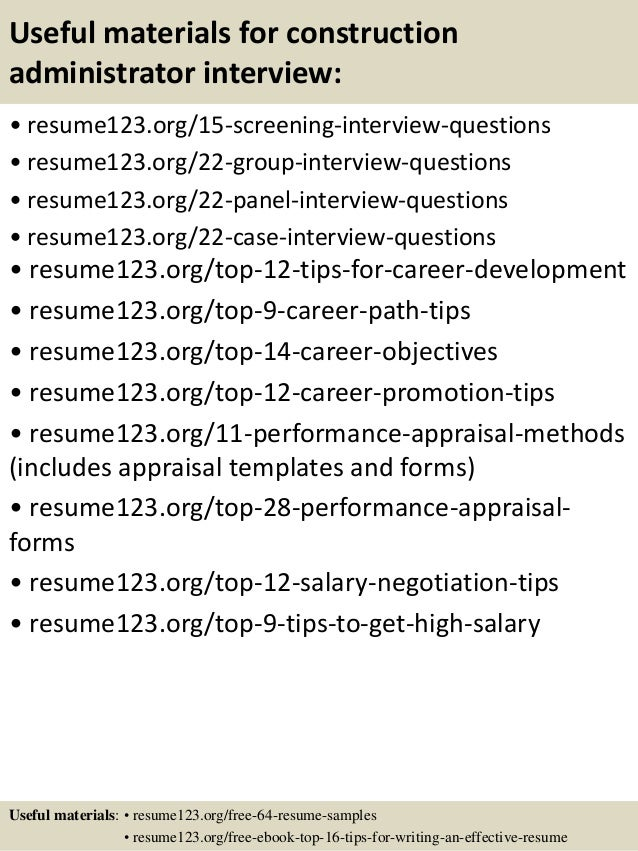 15 useful materials for construction administrator construction administrative assistant resume
