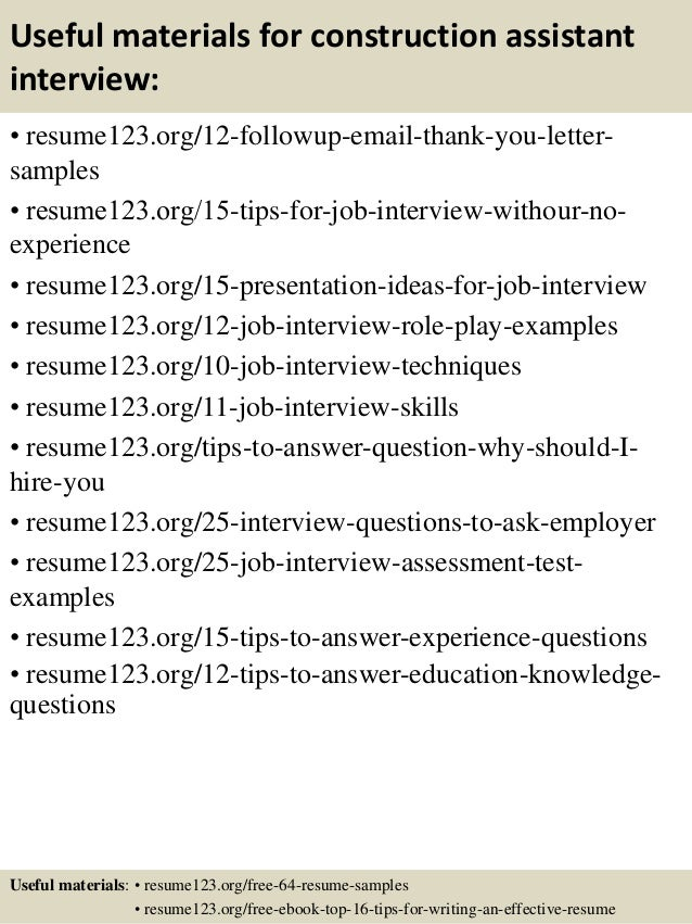 Top 8 construction assistant resume samples