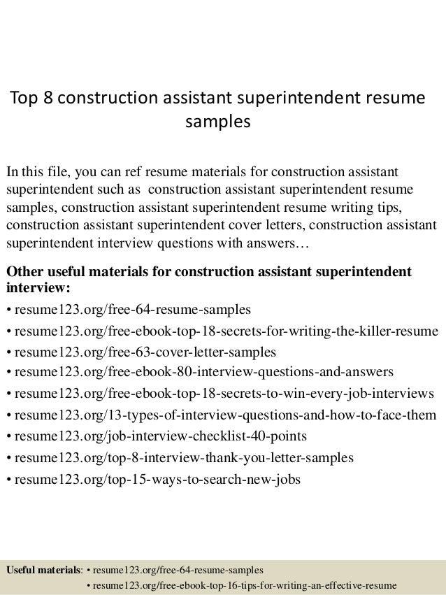 assistant superintendent resume