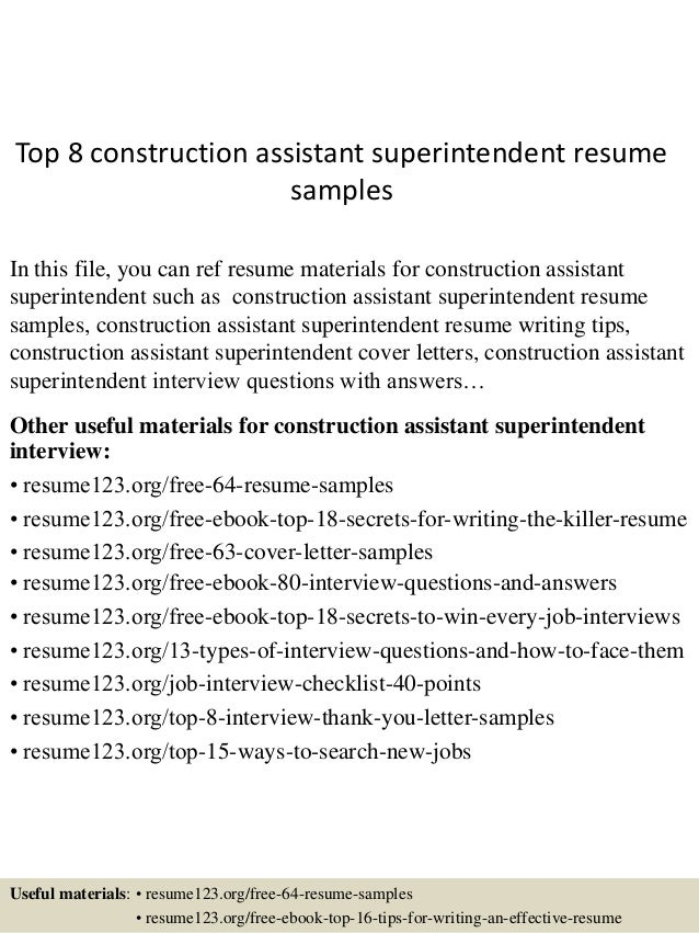 top 8 construction assistant superintendent resume samples in this file you can ref resume materials - Construction Superintendent Resume Sample