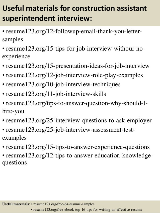 Top  Construction Assistant Superintendent Resume Samples