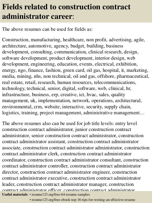16 fields related to construction contract administrator - Contract Administration Sample Resume
