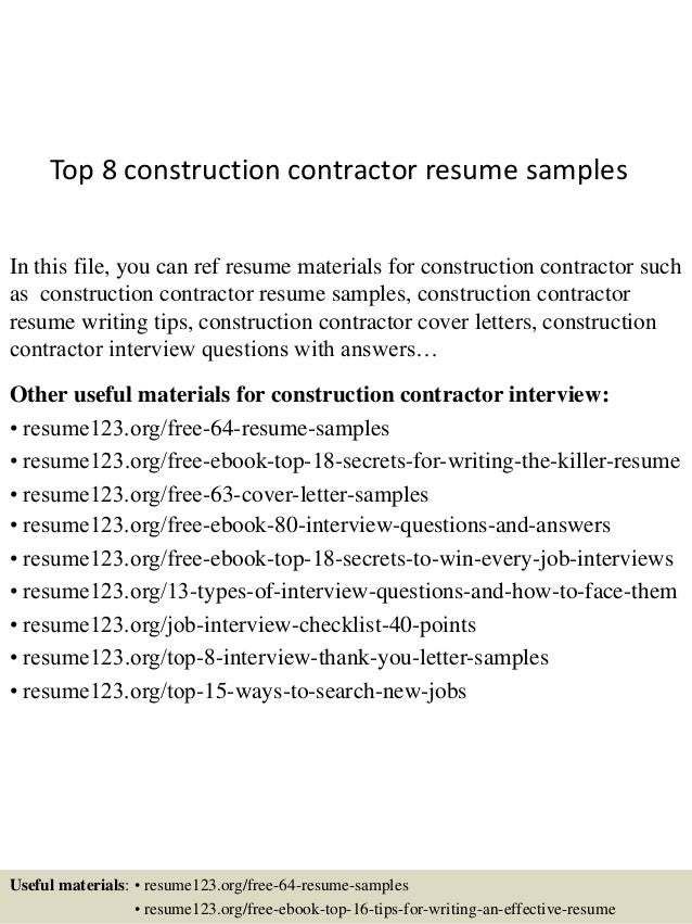 top 8 construction contractor resume samples in this file you can ref resume materials for - Contractor Resume Sample
