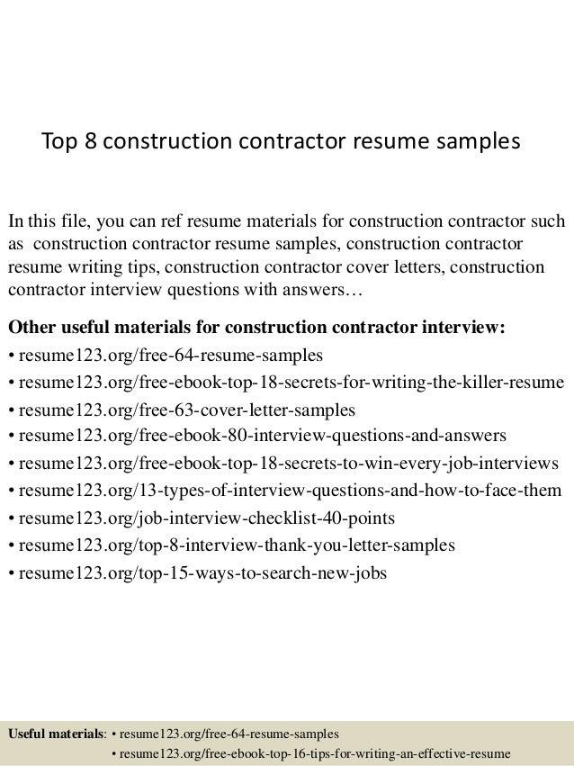 contractor resume sample