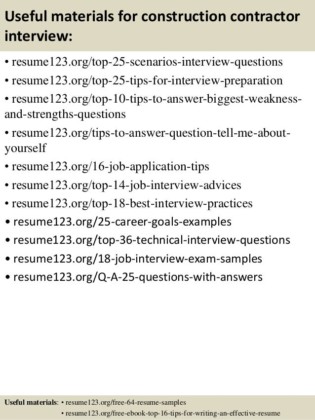 Top 8 construction contractor resume samples