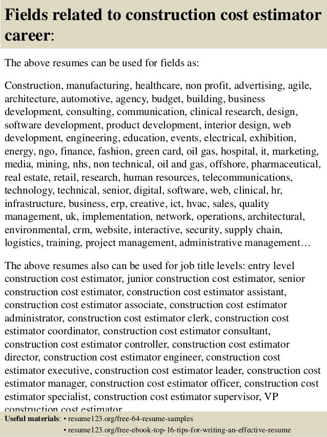 ... 16. Fields Related To Construction Cost Estimator ...