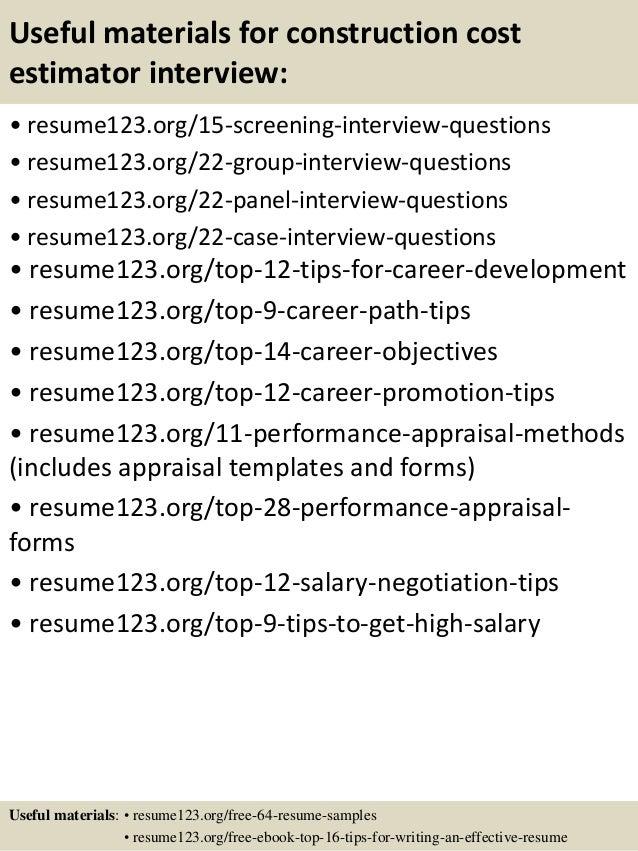 top 8 construction cost estimator resume samples