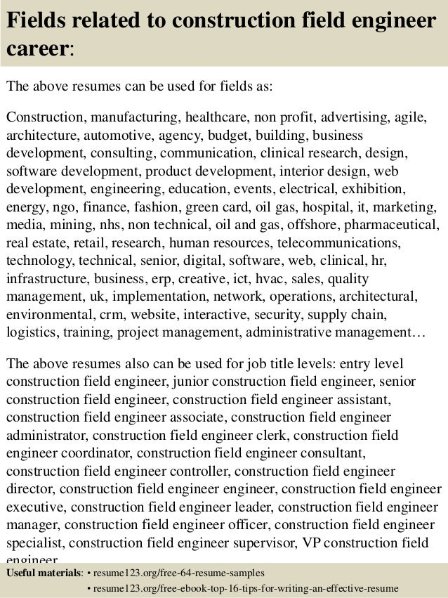 16 fields related to construction field engineer - Field Engineer Sample Resume