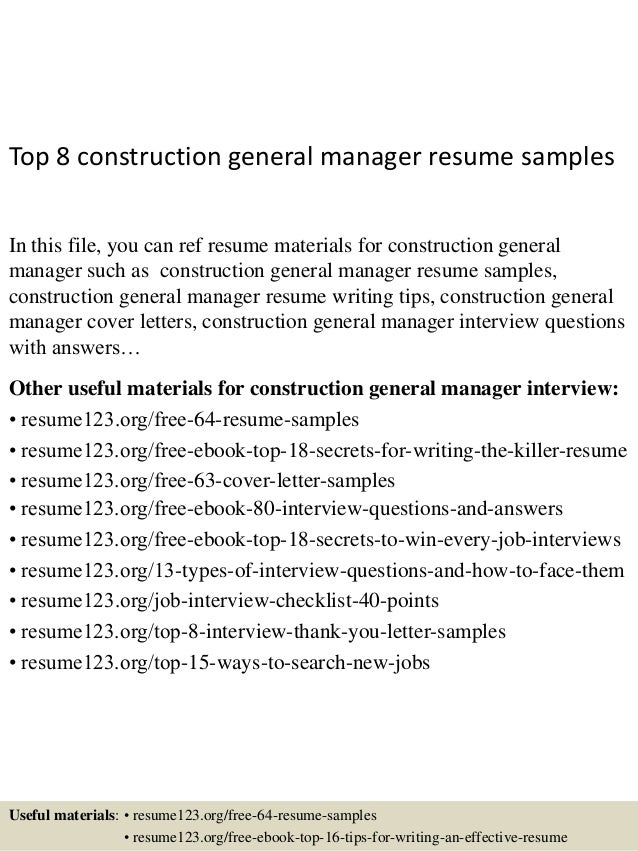 Top 8 Construction General Manager Resume Samples In This File You Can Ref Materials