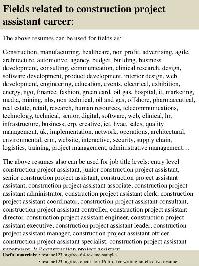 project assistant sample resume project assistant resume samples