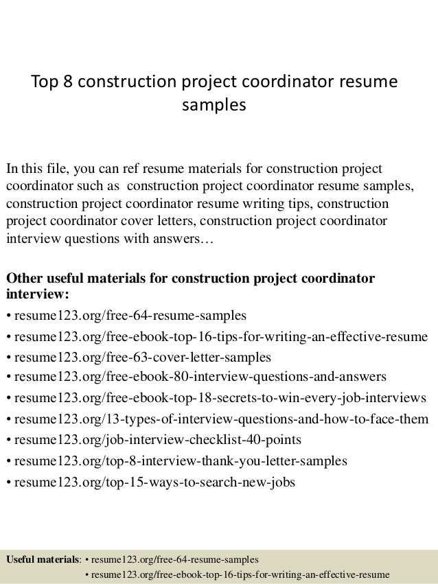 top 8 construction project coordinator resume samples in this file you can ref resume materials - Project Coordinator Resume Samples