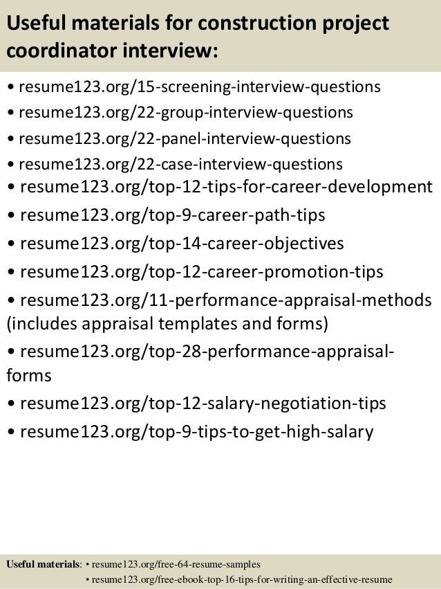 Top 8 construction project coordinator resume samples