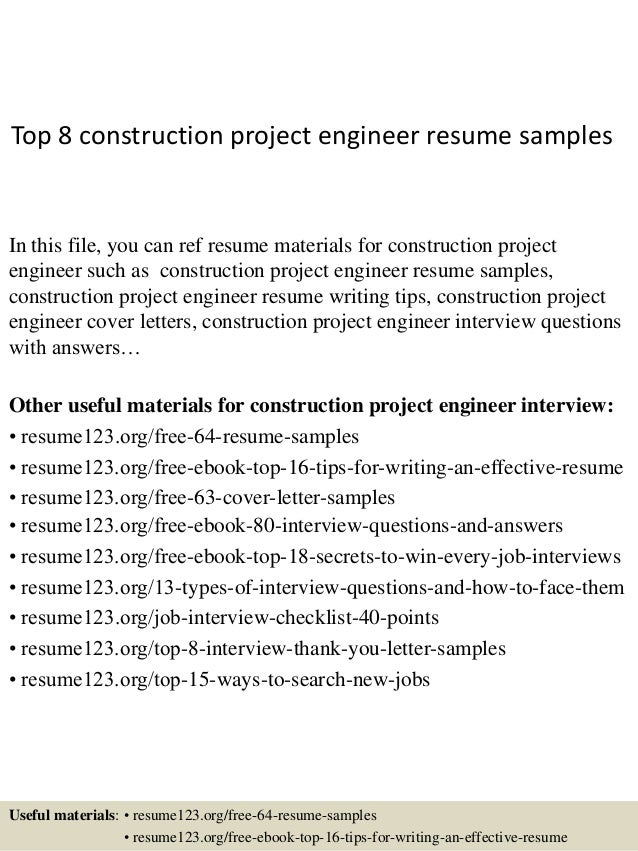 top 8 construction project engineer resume samples in this file you can ref resume materials - Project Engineer Resume Template