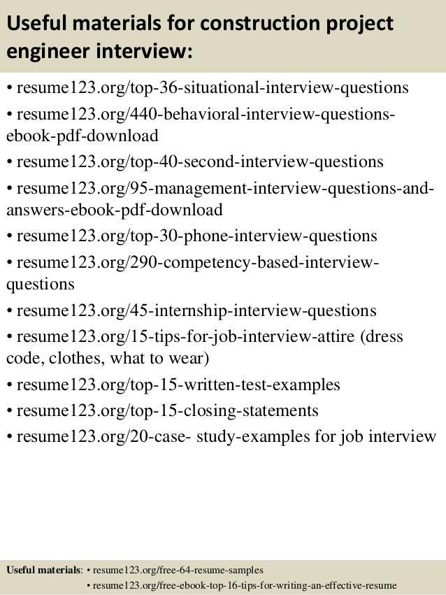 ... 12. Useful Materials For Construction Project Engineer ...  Construction Project Engineer Resume