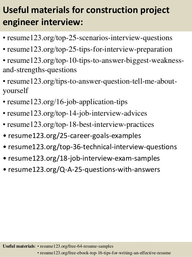 13 useful materials for construction project engineer - Construction Project Engineer Sample Resume