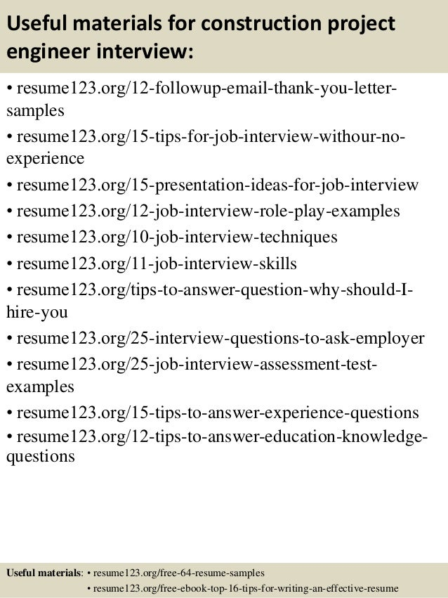 ... 14. Useful Materials For Construction Project Engineer ...  Construction Project Engineer Resume