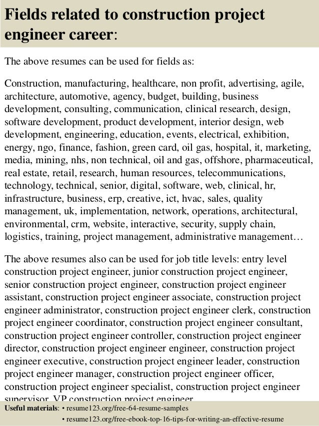 ... 16. Fields Related To Construction Project Engineer ... Intended Construction Project Engineer Resume