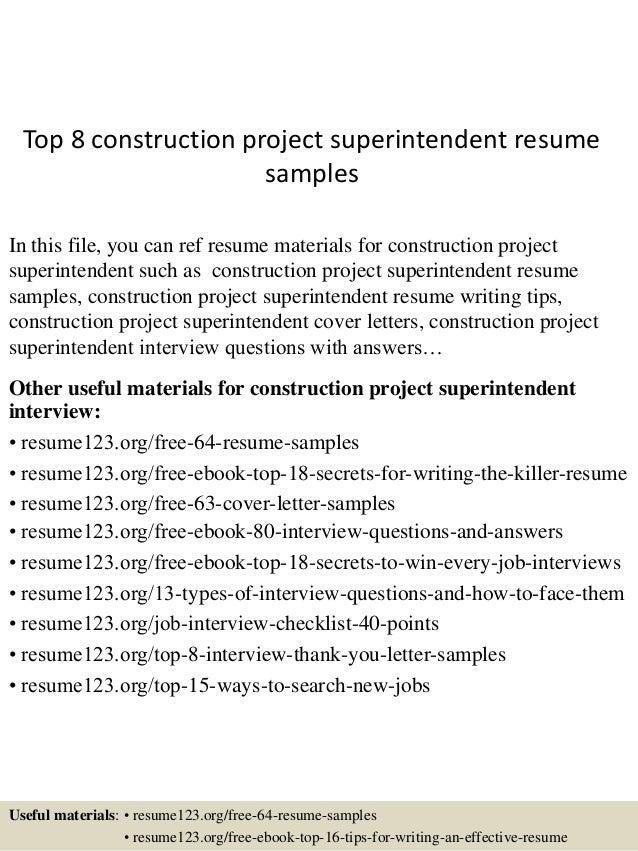 Sample Superintendent Resume